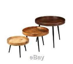 Tables D'appoint Vintage Industrielles Côté Table Ensemble De 3 Pieds Acier Pin Bois Rétro