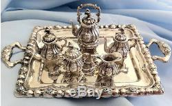 Tea And Coffee Set Withtray, Vintage Sterling Silver. 095, Miniature, 6 Pièces