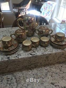 Tea Set Café Fleurs D'or En Porcelaine Japonaise En Céramique Vintage Kutani