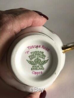 Toscane Fine Anglais En Porcelaine Tendre Dessert Café Pour 8 Vintage