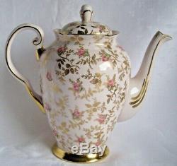 Toscane Vintage Set Café Pour 6, Dubarry Rose, Rare, Rose Porcelaine, Boutons De Rose, Or