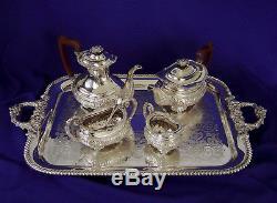 Très Fine Vintage Barker Ellis 4-pc Plaque Argentée Repousse Thé Coffee Set Angleterre