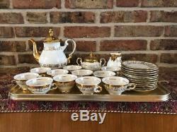 Très Rare 12 Personnes Service À Café Vintage Bavaria Plaqué Or Et Fait À La Main
