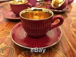 Très Rare! Vintage Danemark 6 Tasses 6 Soucoupes 1 Pot À Lait Jug Soholm Set Café