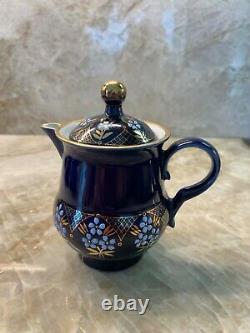 Très Rare Vintage Main Faite Dans Ussr Cobalt Et Jeu De Thé / Café Or 24k