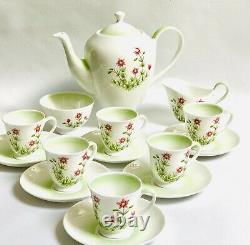 Tuscan Coffee Set Tasses Soucoupes Anglaises En Porcelaine D'os Meadow Sweet Vintage