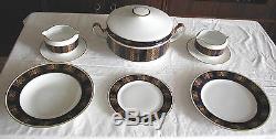Un Fine Vintage Allemand Dinner & Tea Ou Coffee Blue Kobalt Set De Weimar 72psc (s)
