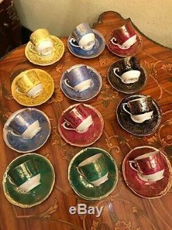 Vintage 12 Tasses 12 Soucoupes En Porcelaine Royale Epiag Set Café