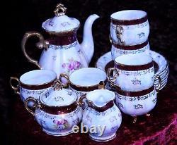 Vintage 15 Piece China Coffee Set Japanese'fresh' Design Nacre De Pearl Effect