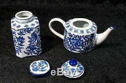 Vintage 15 Piece Exquis Bleu Cobalt Et Blanc Thé Floral Set Café
