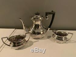 Vintage 3-pc. Edwardian Sheffield Argent Plaque Thé / Café Set