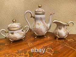 Vintage 5 Tasses 5 Soucoupes Allemande Weimar Josefine Full Mocca Coffee Set