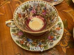 Vintage 6 Tasses 6 Soucoupes Allemagne Bavière Rococo Porcelain Coffee Set