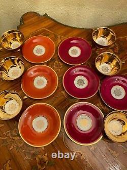 Vintage 6 Tasses 6 Soucoupes Bavière Allemande Tirschenreuth Ensemble De Café En Porcelaine