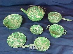 Vintage 7 Pièces Green Graniteware Style Enfant Miniature Dish Set Coffee Pot