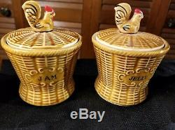 Vintage 8 Pièces En Céramique Thé Avec Coqs Et Modèle Basket Weave