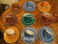 Vintage 9 Tasses 9 Sauces 9 Assiettes De Gâteau Allemand V&b Lettin Porcelaine Cafetière