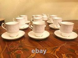 Vintage 9 Tasses 9 Soucoupes Anglais Staffordshire Porcelain Coffee Ensemble