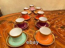 Vintage 9 Tasses 9 Soucoupes Danish Royal Copenhagen Coffee Set