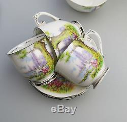 Vintage Anglais Porcelaine Roslyn Chine Peacehaven Swan Lake Coffee Set C. 1930