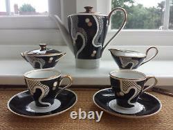 Vintage Années 1950 Johann Haviland Rrw Bavaria Gilded Coffee Set For Two