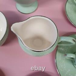 Vintage Arklow Irlande Belvedere Pale Green Coffee Set Silver Gilt White