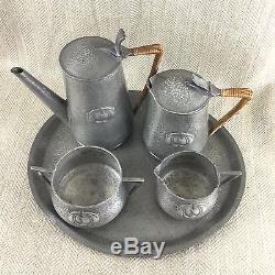 Vintage Art Nouveau Set De Service De Café En Étain Pot Jarrier Jugendstil Beaten Vtg