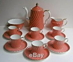 Vintage Aynsley Café Set Pot Sucrier Bol Cruche Canettes / Tasses Saumon Côtes