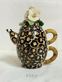 Vintage B. Ware Malibu 3 Pièces Stackable Léopard Spot Fleur Top Tea/cafee Set