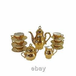 Vintage Bavaria Gold Demitasse Tea Espresso Cafe Pot Cup Saucer Set Sert 6