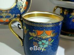 Vintage Bleu Émaillé Collingwood En Porcelaine Thé / Café Set 6x