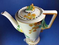 Vintage Burleigh Ware Zenith Meadowland Art Déco Ensemble De Café Pour Six