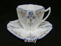 Vintage C. 1925 Shelley Queen Anne Blue Iris Ensemble De Café Rare Pour Un