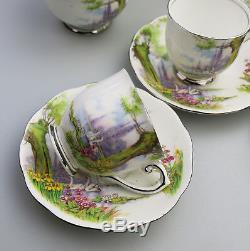 Vintage Café En Porcelaine Anglaise Roslyn China Peacehaven Lac Swan Set C. 1930