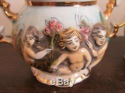 Vintage Capodimonte Italie Demitasse Coffee Pot Set Creamer Sugar 6 Cup & Saucer