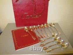 Vintage Cartier Set Of 12 Silverplate Coffee / Cuillères Demitasse