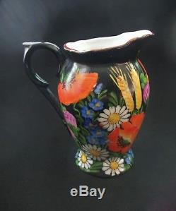 Vintage China Demitasse Set De Café Ditmar Urbach Black Floral Tchécoslovaquie