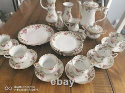 Vintage Chodziez Polonais Porcelaine Coffee Set 26 Pièces. Polska Porcelana 26pcs