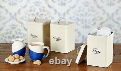 Vintage Crème Émail Thé Café Sucre De Cuisine Conserver Des Boîtes De Conserve Pots