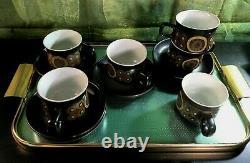 Vintage Denby 70' Arabesque Pamberton Coffee/ Tea Set De 6 Tasses Et Soucoupes 12 P