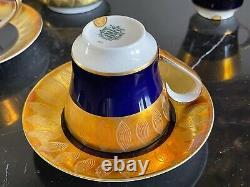Vintage Echt Weimar Cobalt Bleu Et Or Harmonie Pattern 7326 Set De Café