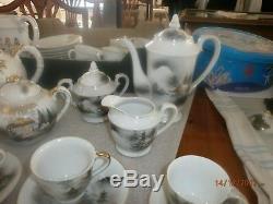 Vintage Geisha Girl Lithophane Café / Thé Ensemble Peint À La Main 14pcs Porcelaine