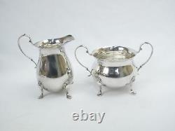 Vintage Georgian Style Sterling Silver Coffee Pot Creamer Sugar Service Ensemble De 3