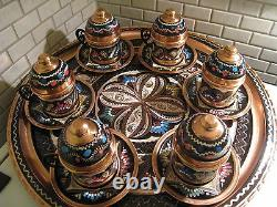 Vintage Handmade Copper Turkish Coffee & Espresso Serving Setottoman Style -6cups