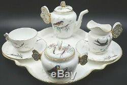 Vintage Haviland Limoges France Papillon Handled 9 (neuf) Piece Tea Set Café