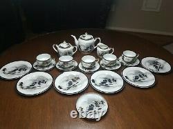 Vintage Hayasi Kutani Fine Chine Thé / Cafetière 22 Pièces