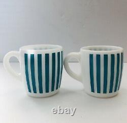 Vintage Hazel Atlas Candy Stripe Milk Tasses De Café Set De 6 Jaune Rouge Bleu
