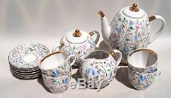 Vintage Imperial Russian Urss Lomonosov Ensemble De Café Porcelaine Fleur Peinte À La Main