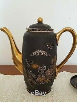 Vintage Japonais Damascène Egg Shell Café Set Peint À La Main Matte Black Gold