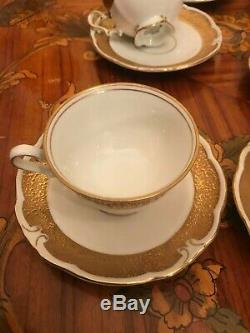 Vintage Jlmenau Graf Von Henneberg 6 Tasses 1 Pot À Lait En Porcelaine Jug Set Café